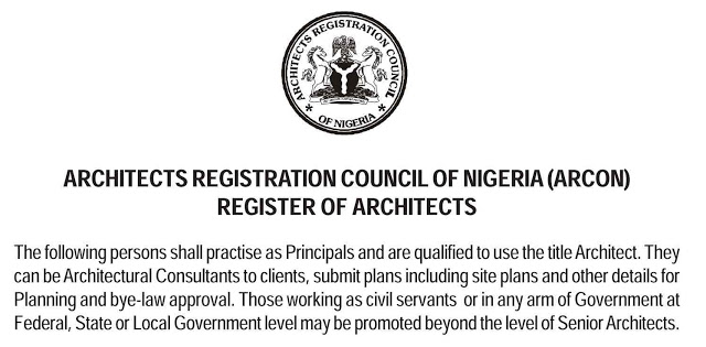 List of Registered (ARCON) Architects in Nigeria